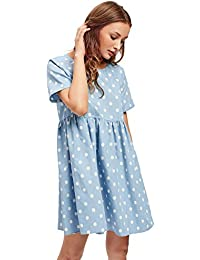 Women's Loose Ruffle Short Sleeve Gingham Babydoll Dress
