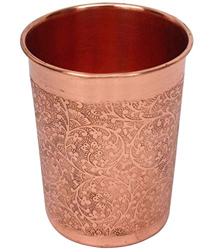 Craft-View 2 X 100% Pure Copper Drinking 300 ml Glass Cup Tumbler/Flask Ayurveda Health Yoga Ayurveda Beneficial Set Drinking Water NH-15