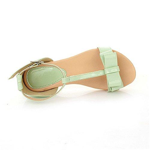 AalarDom Mujer Puntera Abierta Mini Tacón Pu Sólido Hebilla Sandalias de vestir Verde