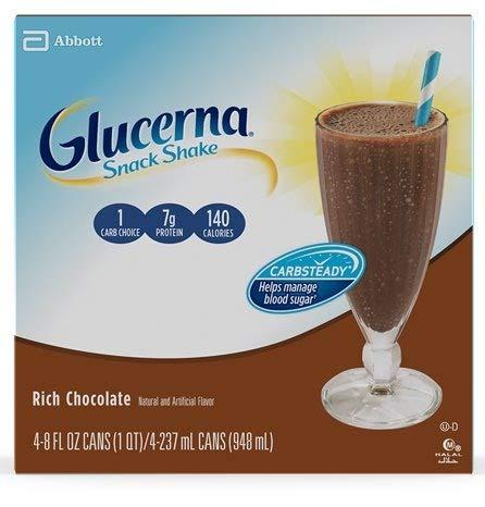 GlucernaSnack Shake, To Help Manage Blood Sugar, Rich Chocolate, 8 fl oz, Pack of 16