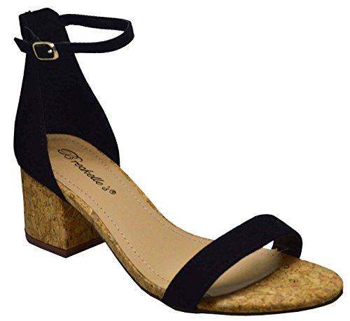 da donna punta aperta sandalo con cinturino posteriore sughero tacco in verde