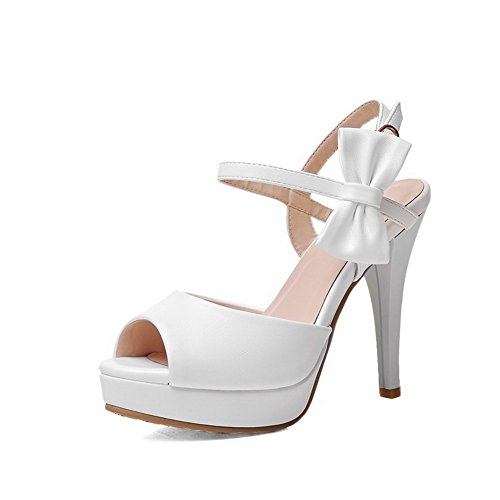 Amoonyfashion Donna Fibbia Peep Toe Punte Stiletto Pu Sandali Solidi Bianco