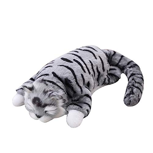T011YWXsc 10inch Electric Simulated Cat Plush Doll Sound Motor Interactive Kids Toy Gift - Gray