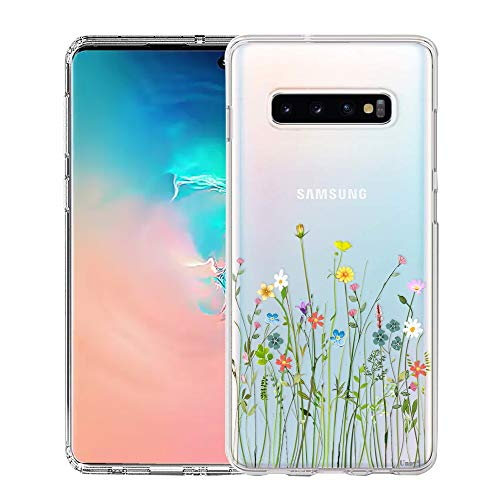 Samsung Galaxy S10 Case, Unov Clear with Design Soft TPU Shock Absorption Slim Embossed Floral Pattern Protective Back Cover for Galaxy S10 6.1in (Flower Bouquet)