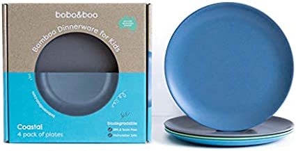 """- Best Eco-Friendly Dinnerware Plate Pack for Children Natural 4 pc Set BPA Free Big Kids and Baby Non-Toxic WEESPROUT Bamboo Toddler Plates 8/"""" x 8/"""" x 1/"""" Dishwasher Safe"""