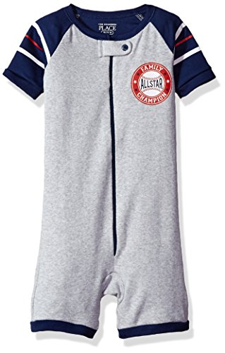 The Children's Place Baby Girls' Short Sleeve One-Piece Pajamas, H/T Mist 81686, 6-9MONTHS