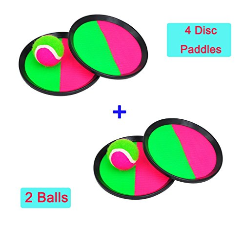 Catch Bat Ball Catch Toss Game Set with Disc Paddles Hot Outdoor Beach Garden Pool Toy (4 Disc Paddles + 2 BALL) (Throw Ball Game)