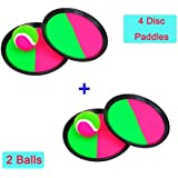 Zinnor Family Throw Catch Bat Ball Catch Toss Game Set with Disc Paddles Hot Outdoor Beach Garden Pool Toy (4 Disc Paddles + 2 BALL)