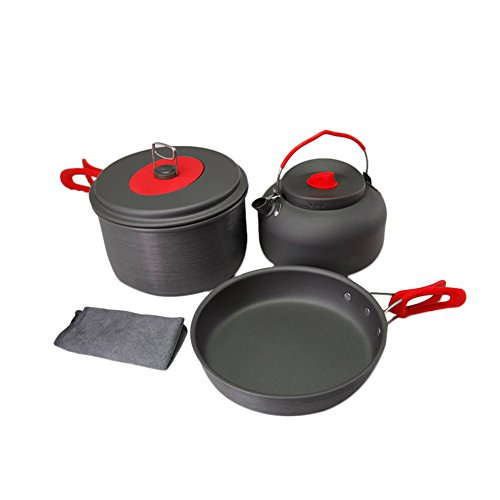 Ezyoutdoor Non-Stick Aluminum Camping Cookware Ultralight Outdoor Cooking Picnic Set Camp Pot Pan Kettle Dishcloth For 2-3 People by ezyoutdoor