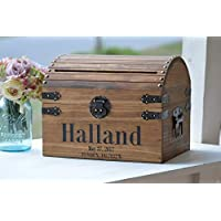 Wedding Card Box for Reception with Lock and Key Option Custom Coordinates Wedding Cards Holder Rustic Wedding Money Box Wooden Trunk