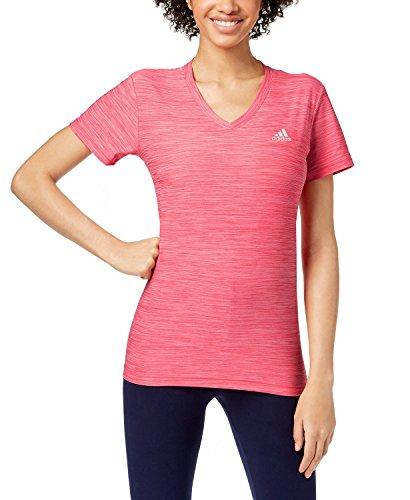 (adidas Women's Ultimate Short Sleeve V-Neck Tee (ENEPNK, X-Large))