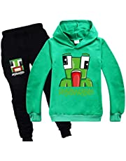 Kids Pullover Outfit Sweatshirt Suit Childs Hoodie And Jogger Tracksuit for Boys Girls