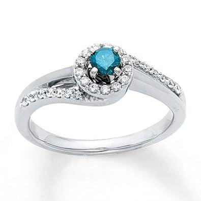 Jared Diamond Engagement Ring13 ct tw BlueWhite10K White Gold