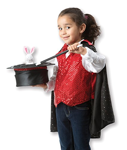 Melissa & Doug Magician Role Play Costume Set - Includes Hat, Cape, Wand, Magic Tricks - Kid Magic Trick