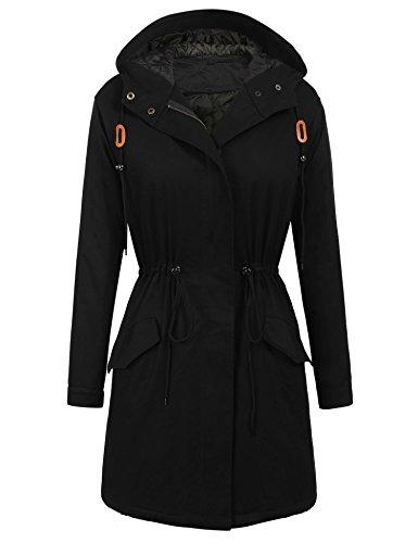 ELESOL Women's Classic Warm Long Coat Hooded Jacket Winter Anorak Coat Outwear Black/L