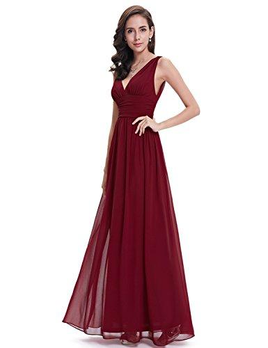 Langes Partykleid Pretty blumengedrucktes Ever V 08724 Burgund Ausschnitt Damen ärmelloses pYaqdq0w