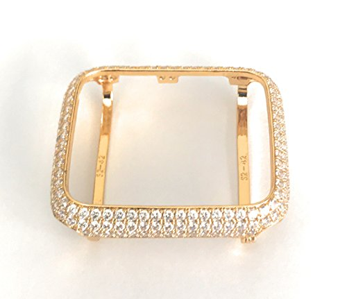 14k Yellow Gold Diamond Watch - EMJ004 Series 1,2,3 Bling Apple Watch Zirconia Yellow Gold Case Insert Bezel 38/42mm (38, series 1)