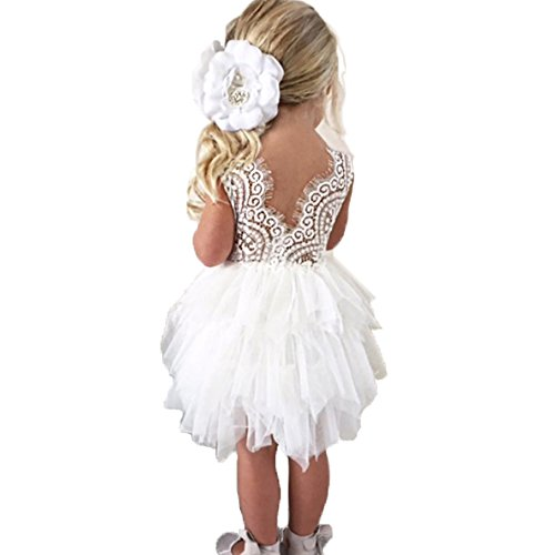 Topmaker Backless A-line Lace Back Flower Girl Dress (9-10Y, White)