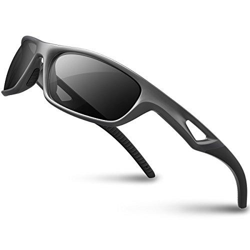 rts Sunglasses Driving Sun Glasses Shades for Men Women Tr 90 Unbreakable Frame for Cycling Baseball Run Rb831 (Sliver&Black) ()