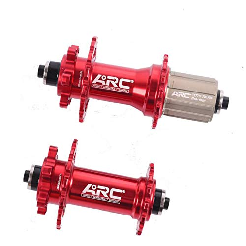 (CSCbike ARC FT001 MTB Mountain Bike Front Rear Hub, 32 Holes, Front 100mm Rear 135mm(Front&Rear, Red, 32/32 Holes))