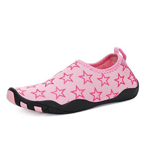 AFFINEST Kinder Strandschuhe Aquaschuhe Breathable Schlüpfen Schnell Trocknend Schwimmschuhe Surfschuhe für Mädchen Jungen Baby Pink-A
