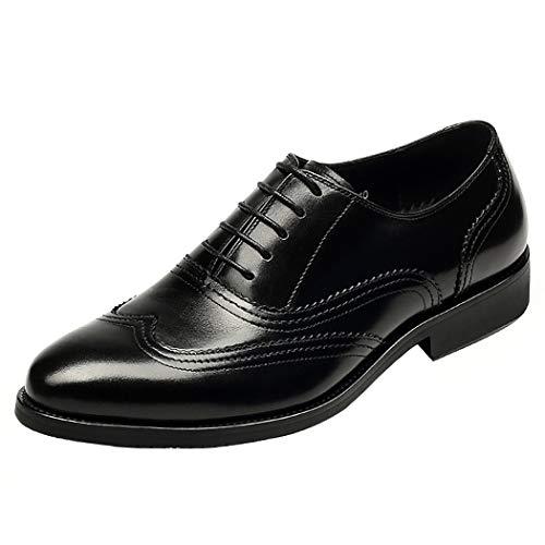 LYMYY Lederschuhe Mens Brogues Klassischen Stil Formale Schuhe Schnürsenkel-Einfach Zu Bedienen, Perfekt Für Das Reisen-Klassisches Gentleman Es Accessoire Black