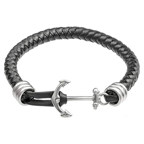 Leather Stainless Rubber Bracelets Steel (Stainless Steel and Black Genuine Leather Anchor Bracelet)