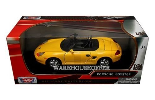 New 1:24 W/B MOTOR MAX COLLECTION - YELLOW PORSCHE BOXSTER Diecast Model Car By MOTOR (Porsche Boxster Motor)