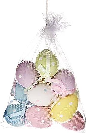 Bag of 18 Pastel Gingham Hanging Mini Easter Eggs by Gisela Graham