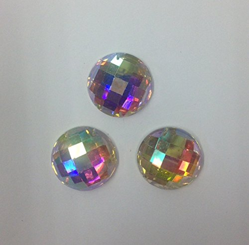 Crystal AB Flat Back Round Shape 22MM Resin stone Sew on or glue on Gems with two holes Selling per pack/60pcs by TOP TRIMMING