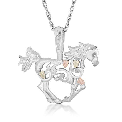 Black Hills Gold Horse Pendant in Sterling Silver, 12k Gold Leaves ()