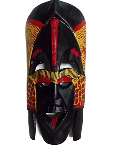 African Hand Carved Maasai Mask, Black Red, 11.5 Inches