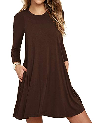 - Women's Casual Plain Long Sleeve Simple T-Shirt Loose Dress Coffee Medium