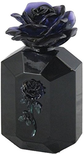 3.88 Inch Black Rose Glass Perfume Bottle - Black with Black -