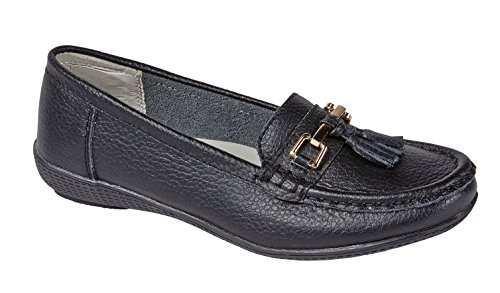 Jo & Joe Womens Flats Leather Deck Boat Loafers Moccasins Driving Shoes with Bar & Tassels Size UK 3-8 Black qAllH0R