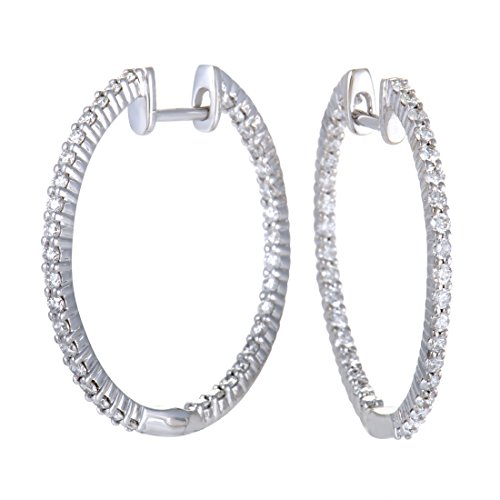 1 Carat (ctw) Diamond In and Out Hoop Earrings in 14K White Gold; 1 CT White Diamonds (G Color, SI1-SI2 Clarity) in 1.0'' Hoops by Luxury Bazaar