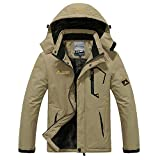 iDWZA Fashion Women Men's Autumn Winter Assault Clothing Thickened Fluffy Hooded Coat(Khaki,US M/CN L)