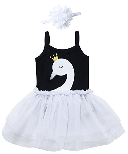 Mini Era Baby Girls' Swan Lace Tutu Dress Bodysuit with Headband (3-6 Months, White Swan)