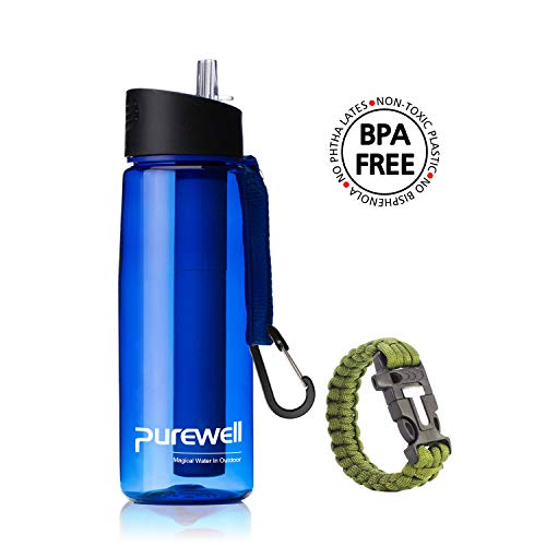 Purewell Filtered Water Bottle BPA Free with 4-Stage Integrated Filter Straw for Camping, Hiking, Backpacking and Travel