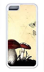 iPhone 5c case, Cute Vintage Mushroom iPhone 5c Cover, iPhone 5c Cases, Soft Whtie iPhone 5c Covers
