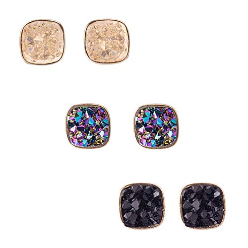 JANE STONE Fashion Resin Square Colorful Faux Druzy Stone White Stud Earrings for Women and Teens (Colorful)