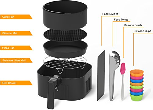 Automatic Electric Hot Air Fryer for Oilless Low-Fat Healthy Cooking - Large 5.2 L (5.5 Qt) Capacity - 1800W with Touch Panel - Free Accessory Set and Online Recipe Book - Fry - Roast - Bake - Grill by HOMIA (Image #3)