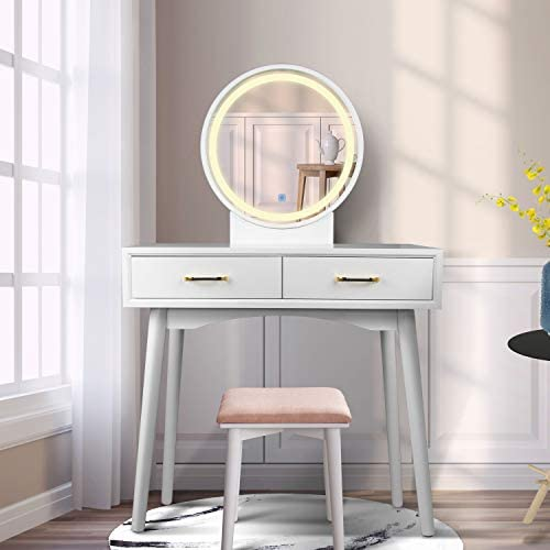 Vanity Table Set with Lighted LED Touch Screen Dimming Round Mirror,Makeup Dressing Table with 2 Sliding Drawers, 1 Cushioned Stool for Bedroom, Bathroom White