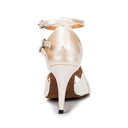 Honeystore Womens Strapy Pump Mid Heel Ankle Buckle Latin Dance Shoes Party Wedding Party Shoes White l0ef1rtLl