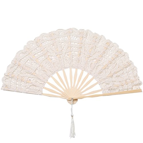 BABEYOND Cotton Lace Folding Handheld Fan Embroidered Bridal Hand Fan with Bamboo Staves for Wedding Decoration Dancing Party (Beige) -