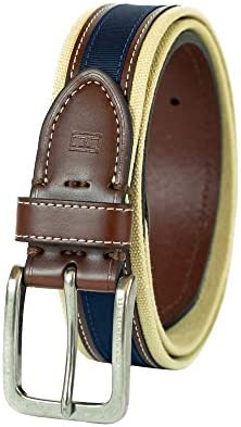 Tommy Hilfiger Men/'s Khaki//brown//navy Belt Canvas And Ribbon 35mm