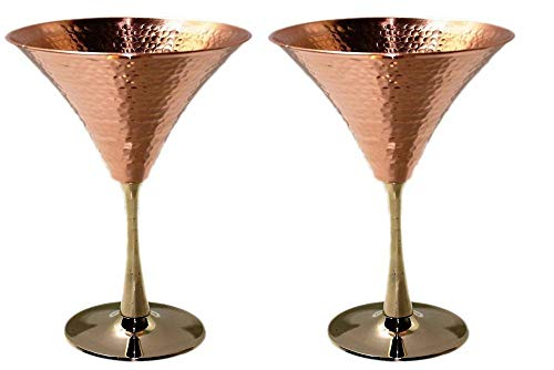 2 PCs 10 Ounce Set Beautifully Hammered Pure Copper Martini Glass holds Glasses