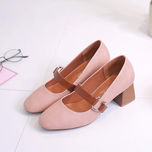 HOESCZS One Button Schuhe Mit Hohen Absätzen Weiblicher Sommer Schuhe Retro Damenschuhe Einzelne Schuhe Damen Dick Mit