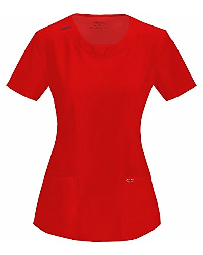 Infinity by Cherokee Women's Split Round Neck Solid Scrub Top Medium Red (Red Womens Scrub Top)