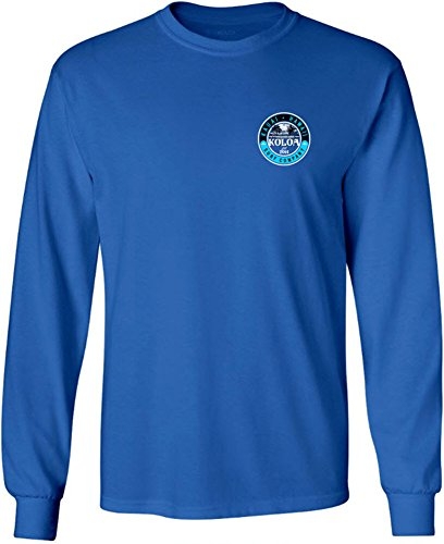 Joe's USA Koloa Surf Kauai Palms Logo Long Sleeve Cotton T-Shirt-Royal/c-L (Cotton Cl)